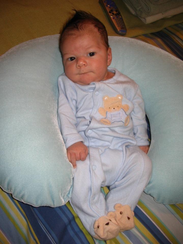 Baby Cooper in Bear Footie Jammies