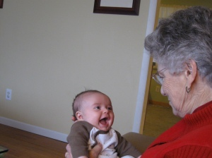 Laughing at Great Grandma when we were in St. Louis!