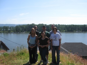 The three of us standing at a point overlooking the Columbia River. This is near the house Carrie and Amy grew up in.