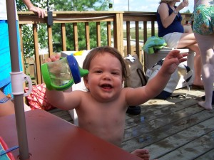 Lunging with Happiness at your 1st Birthday Pool Party