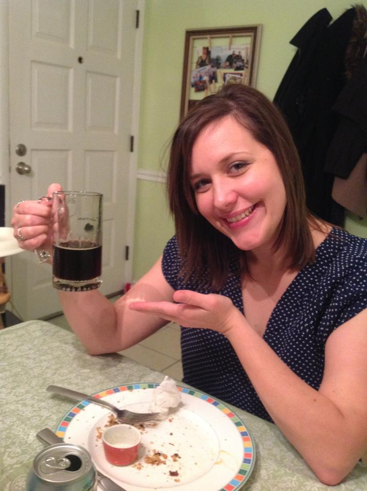 "This is me trying out a Chocolate Bock by Sam Adams. We have a little toast we do when we enjoy beverages. ""To the King!"" we say. Our pastor encouraged us in that endeavor...it's a long story."