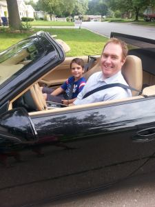 Daddy and Coop in porsche