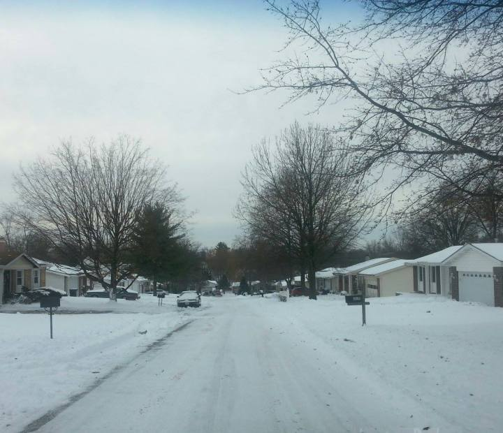The view of our street on snow day #3 (it took a long time for the snow pack to melt or get scraped up!)